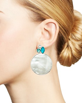 IPPOLITA - Sterling Silver Wonderland Mother-of-Pearl & Clear Quartz Doublet Cluster & Round Drop Earrings in Bermuda