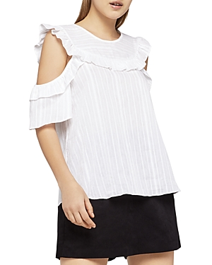 BCBGeneration Ruffled Striped Cold-Shoulder Top