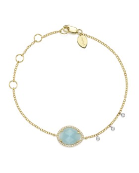 Meira T - 14K White & Yellow Gold Milky Aquamarine & Diamond Bracelet