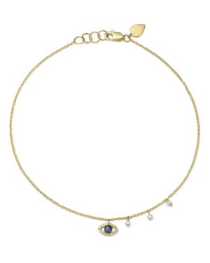 Meira T 14K White & Yellow Gold Sapphire, Diamond & Cultured Freshwater Pearl Evil Eye Ankle Bracele