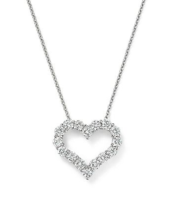 Bloomingdale's - Diamond Heart Pendant Necklace in 14K White Gold, 1.0 ct. t.w.- 100% Exclusive
