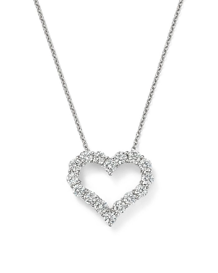 Bloomingdale's - Diamond Heart Pendant Necklace in 14K White Gold, 1.0 ct. t.w. - 100% Exclusive