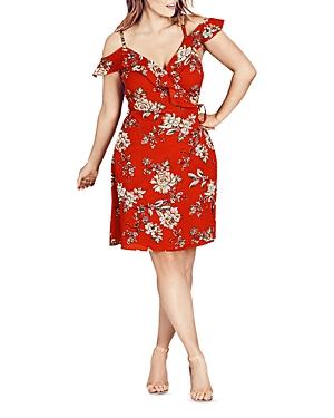 City Chic Wild Floral Cold-Shoulder Dress