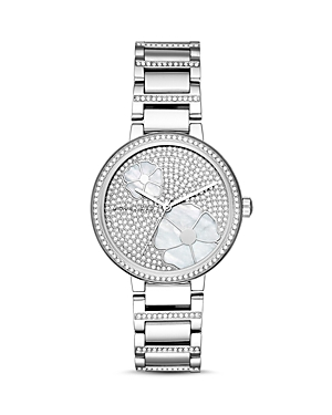 Michael Kors Courtney Stainless-Steel Pave Watch, 36mm