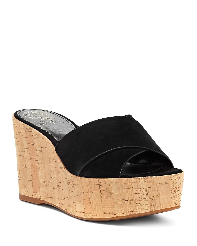 Vince Camuto Women's Kessina Leather & Cork Platform Wedge Slide Sandals n4fqF