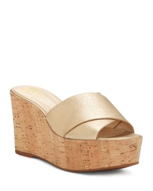 WOMEN'S KESSINA LEATHER & CORK PLATFORM WEDGE SLIDE SANDALS
