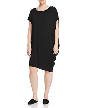 New Eileen Fisher Plus Side-Drape Dress, Black