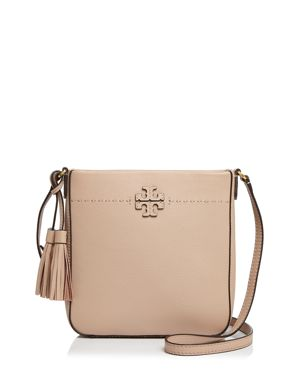Mcgraw Leather Crossbody Tote - Pink, Devon Sand/Gold