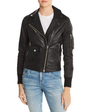 DOMA Mixed Media Aviator Jacket in Black