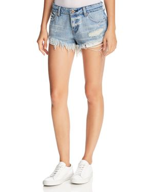 PISTOLA GIGI DISTRESSED CUTOFF DENIM SHORTS IN DIME PIECE