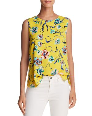 COOPER & ELLA KATE SHELL SLIT BACK FLORAL-PRINT TOP
