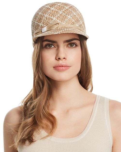 AQUA - Two-Tone Patterned Straw Cap - 100% Exclusive
