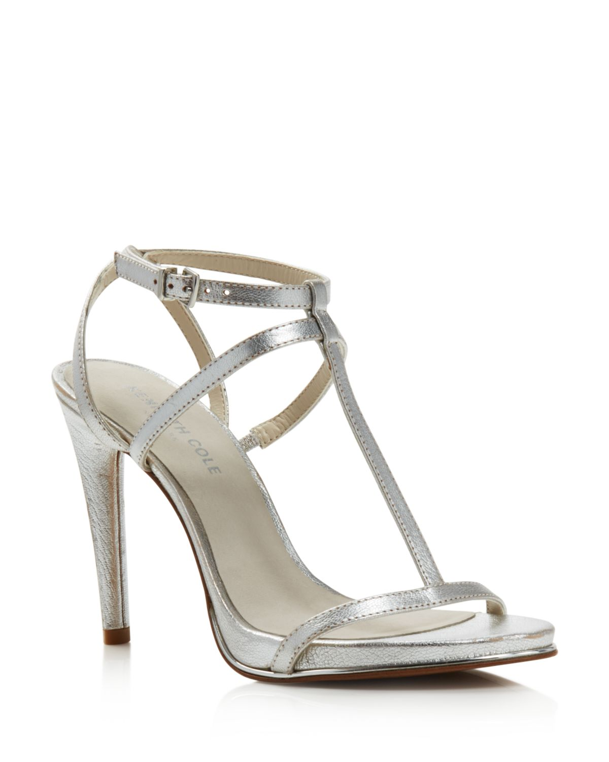 Kenneth Cole Women's Bellamy Leather High-Heel T-Strap Sandals