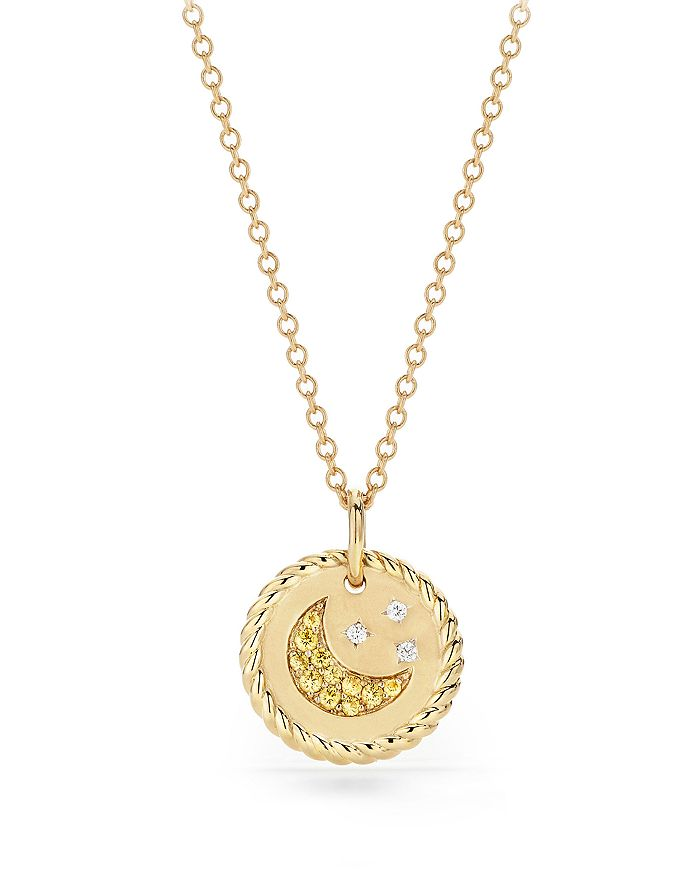 David Yurman - Cable Collectibles Moon & Stars Necklace with Diamonds & Yellow Sapphire in 18K Gold