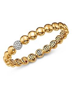 Roberto Coin - 18K White & Yellow Gold Pavé Diamond Disc Bracelet
