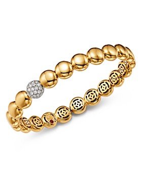 Roberto Coin - 18K White & Yellow Gold Pavé Diamond Disc Bracelet