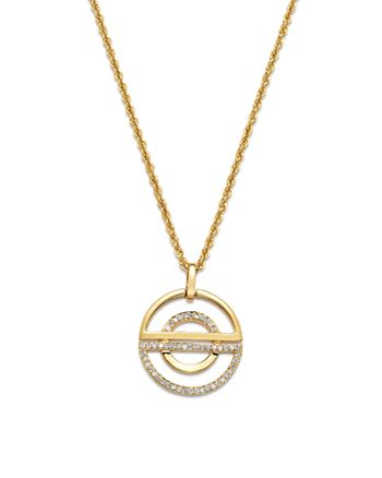 Bloomingdale's - Diamond Open Half Circle Pendant Necklace in 14K Yellow Gold, 0.25 ct. t.w. - 100% Exclusive