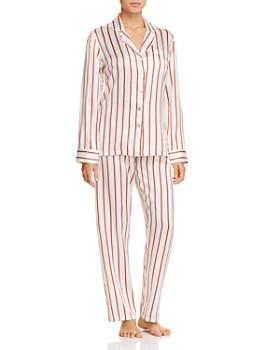 GINIA - Striped Silk Long PJ Set