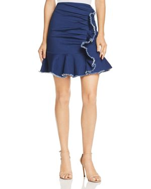 LUCY PARIS KYLIE RUFFLED RUCHED DENIM SKIRT - 100% EXCLUSIVE