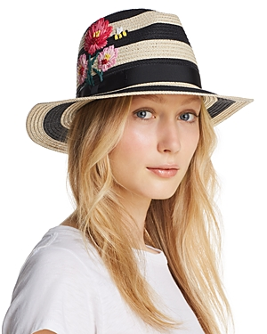 kate spade new york Blossom Embroidered Striped Fedora