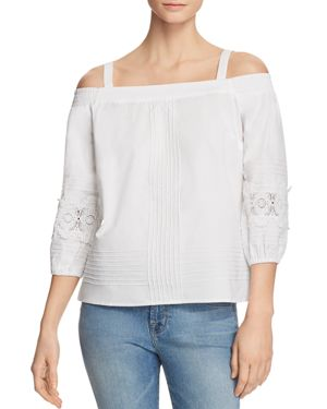 DANIEL RAINN Cold-Shoulder Poplin Top in White