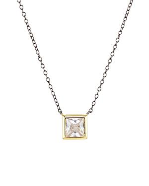 Square Solitaire Pendant Necklace