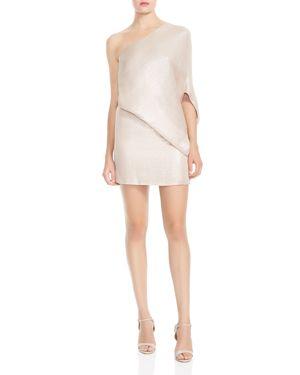 Halston Heritage One-Shoulder Metallic Asymmetric Dress 2881770