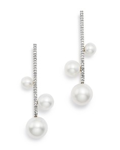 MATEO - 14K White Gold Cultured Freshwater Pearl Trio & Diamond Bar Earrings