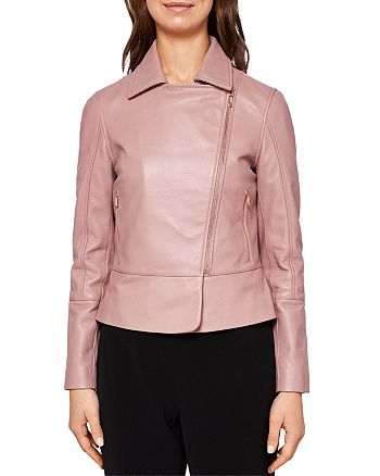 best place for exquisite design autumn shoes Ted Baker Lizia Leather Biker Jacket | Bloomingdale's