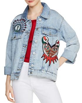 Maje - Baltimore Embroidered Denim Jacket