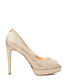 MICHAEL Michael Kors - Women's Erika Glitter Platform Peep Toe Pumps