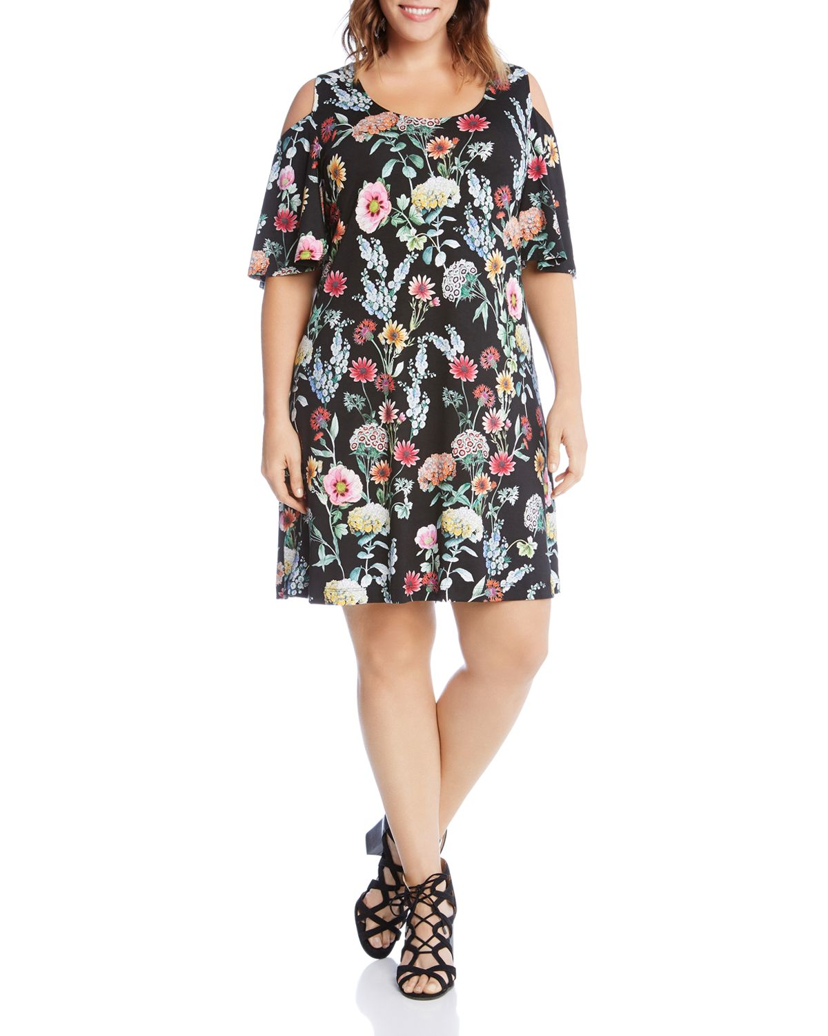 Floral Cold Shoulder Dress by Karen Kane Plus