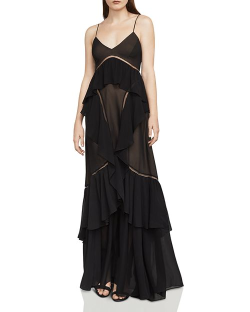 BCBGMAXAZRIA - Penn Tulle-Inset Ruffled Chiffon Gown