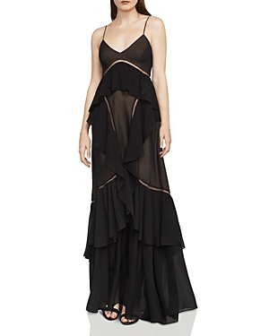 Bcbgmaxazria Penn Tulle-Inset Ruffled Chiffon Gown
