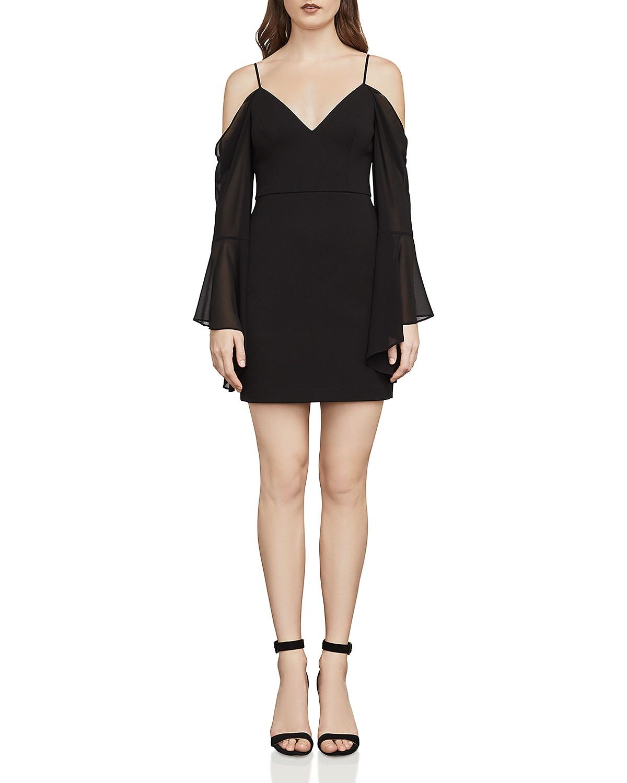 Pamella Cold Shoulder Dress In Black in Black. - size 0 (also in 2,4) Bcbgmaxazria