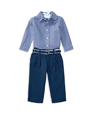 Ralph Lauren Boys ButtonDown Shirt Seersucker Pants  Printed Belt Set  Baby