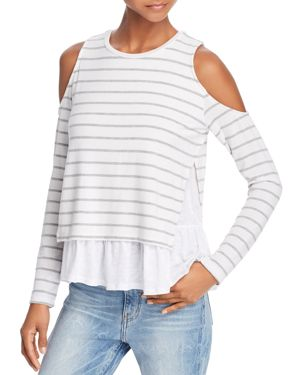 ELSIE LAYERED-LOOK COLD-SHOULDER TEE