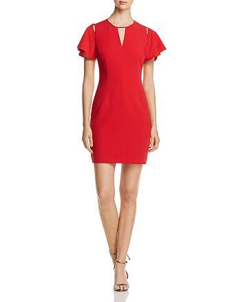 T Tahari - Lovie Flutter-Sleeve Cutout Dress