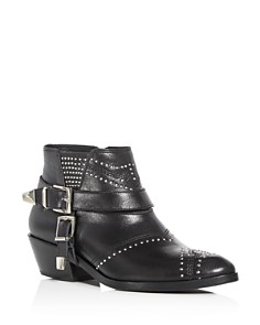 Anine Bing - Women's Bianca Studded Leather Mid Heel Booties