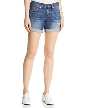 True Religion - Jayde Flap Mid-Rise Denim Shorts in Hardwire Blue