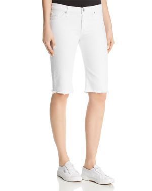 Amelia Over-The-Knee Denim Shorts In Optical White