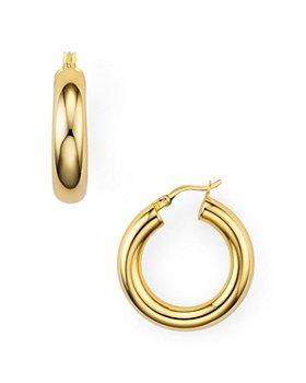 Argento Vivo - Tube Hoop Earrings in Sterling Silver, 18K Gold-Plated Sterling Silver or 18K Rose Gold-Plated Sterling Silver