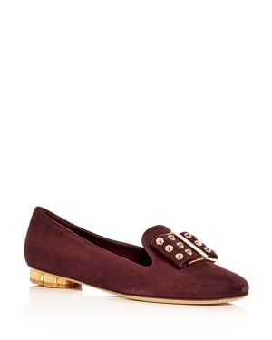 Women'S Sarno Suede Floral Heel Loafers, Burgundy