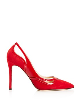 Jimmy Choo - Women's Hickory 100 Suede & Patent Leather Cutout High-Heel Pumps