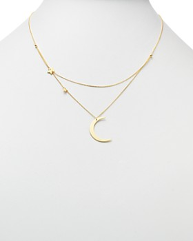 "Moon & Meadow - Crescent & Star Charm Layered Necklace in 14K Yellow Gold, 18"" - 100% Exclusive"