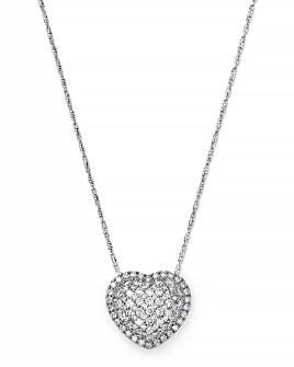 Bloomingdale's - Pavé Diamond Heart Pendant Necklace in 14K White Gold, 1.0 ct. t.w.- 100% Exclusive