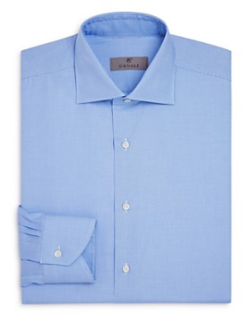 Canali - Crosshatch Textured Solid Regular Fit Dress Shirt