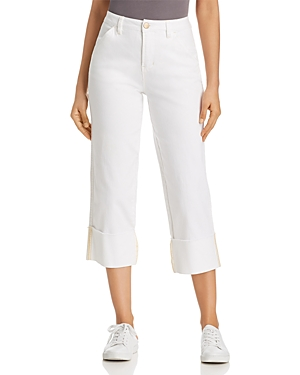 Jag Jeans EDEN WIDE-CUFF CROPPED JEANS IN WHITE