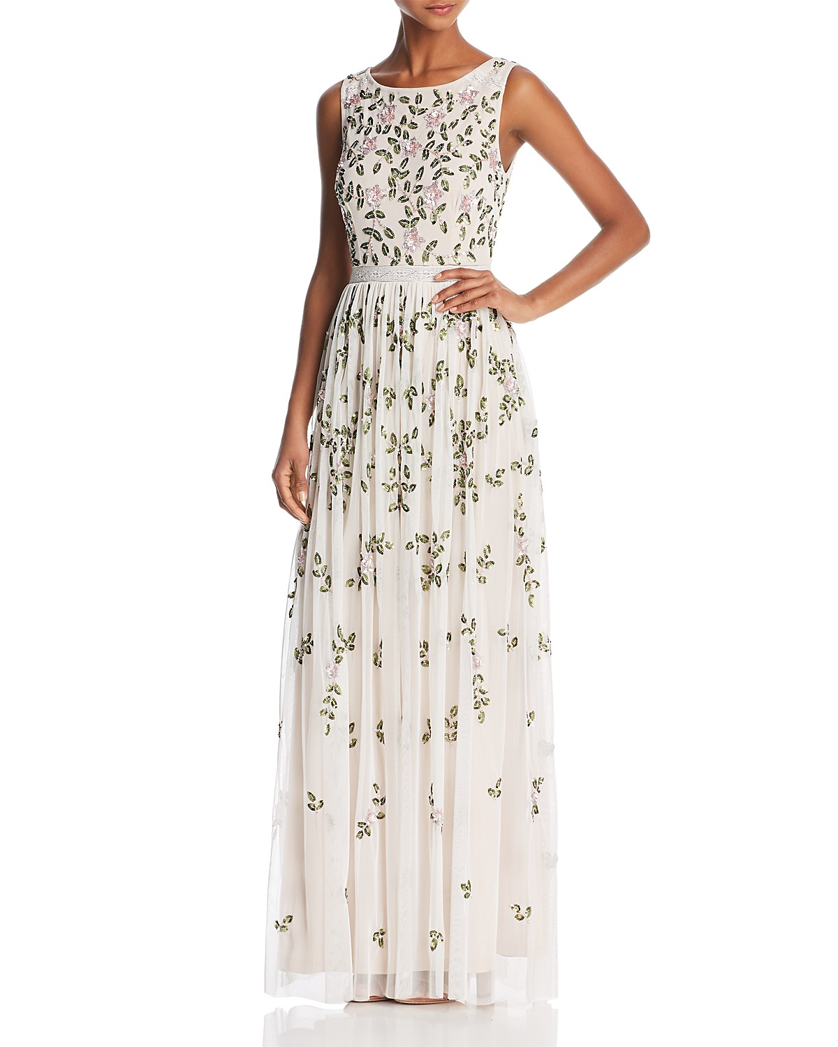 Adrianna Papell Sleeveless Floral-Beaded Gown | Bloomingdale\'s
