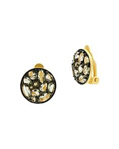 Freida Rothman - Rose d'Or Pavé Cluster Clip-On Earrings